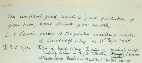 Part of framed letter signed by The Inklings